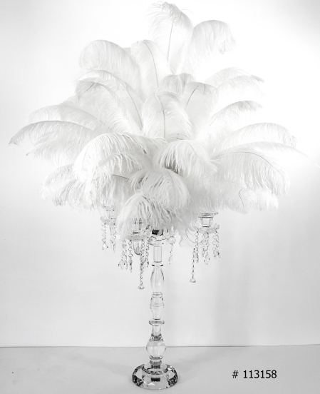 ostrich feather centerpiece 55 inch tall with crystal candelabra with hanging crystals # 113158
