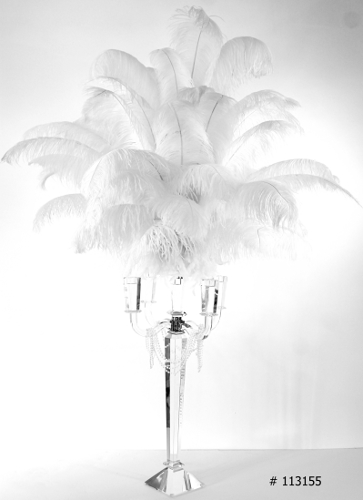 white ostrich feather centepiece 55 inch tall with crystal candelabra # 113155