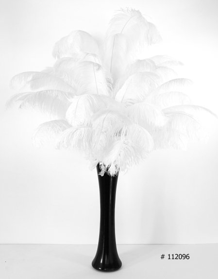 white ostrich feather centerpiece 55 inch tall with black vase # 112096