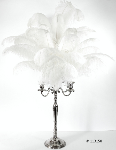 white ostrich feather centerpiece with silver candelabra # 113150 58 inch tall 3