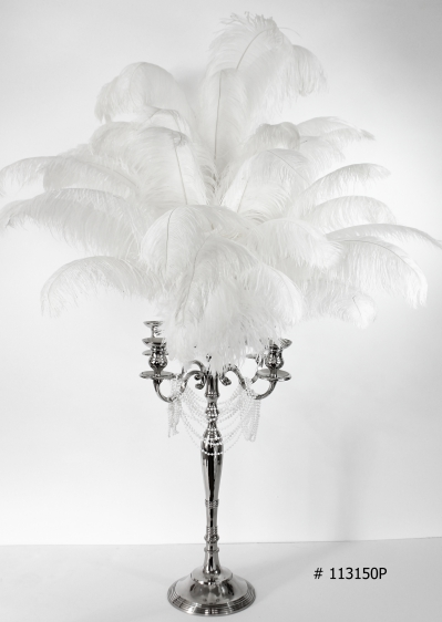 white ostrich feather centerpiece with silver candelabra and pearls # 113150P 58 inch tall