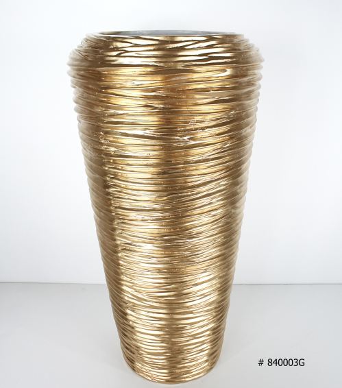 Fiberglass planter gold 26 inch tall # 840003G