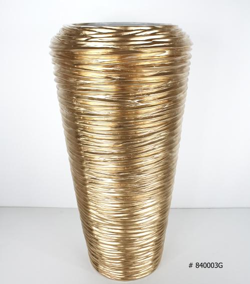 Fiberglass planter gold 26 inch tall # 840003G
