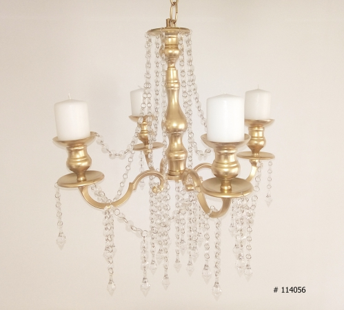 Gold Chandelier with crystals hanging