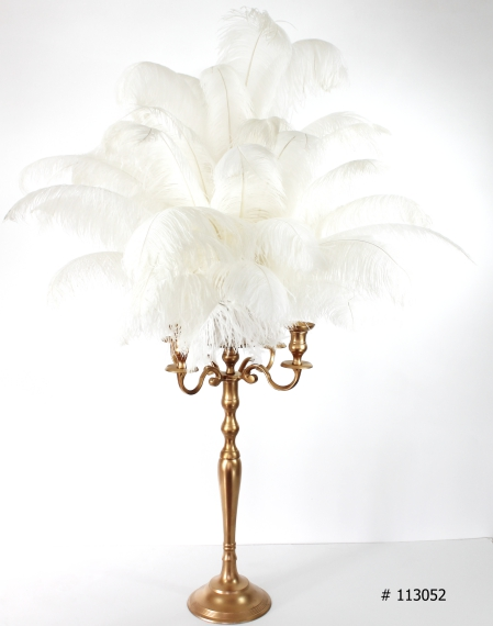 Gold Candelabra with Ostrich Feathers # 113025 58 inch tall