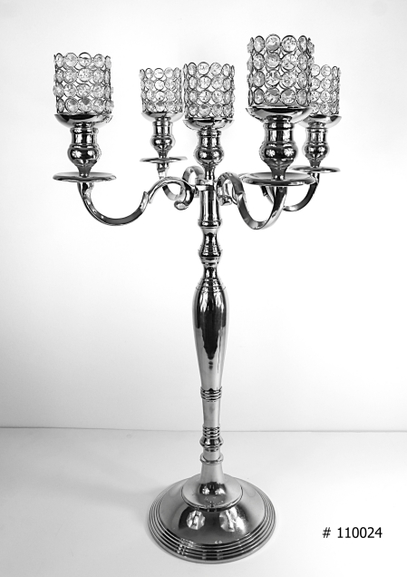 Silver Candelabra # 110024 33 inch tall with 5 crystal votives and 5 fuel cells