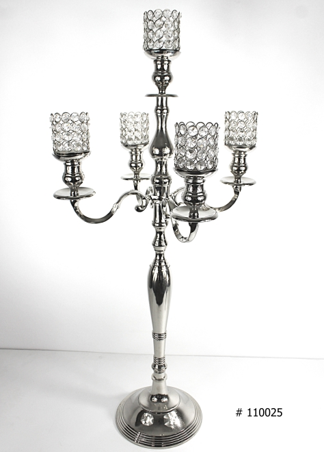 Silver Candelabra 38 inch tall with 5 crystal votives # 110025