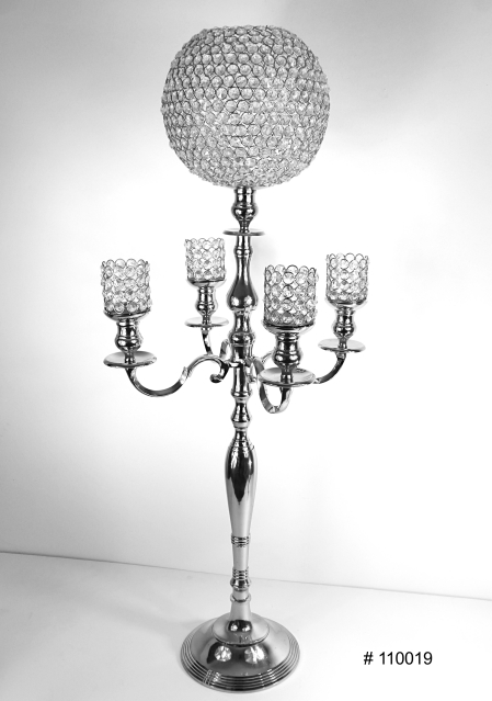 Silver Candelabra with crystal ball 10 inch and 4 crystal votives 45 inch tall # 110019