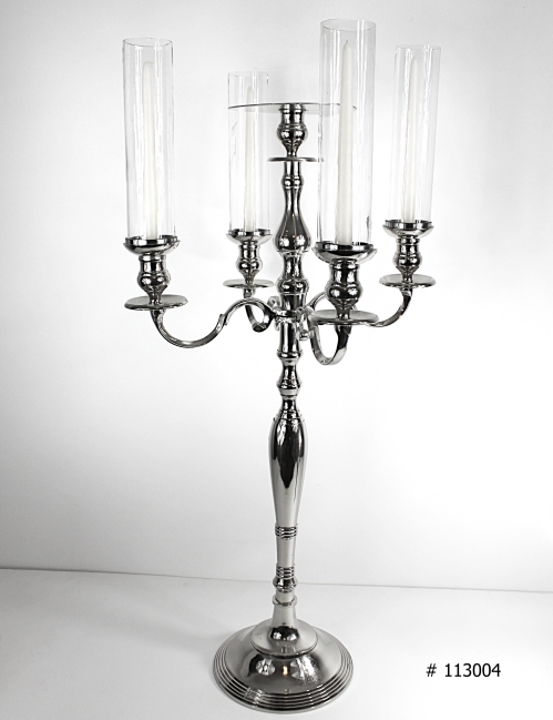 Silver Candelabra with tall taper candles, and tall hurricane covers and plate for florals # 113004