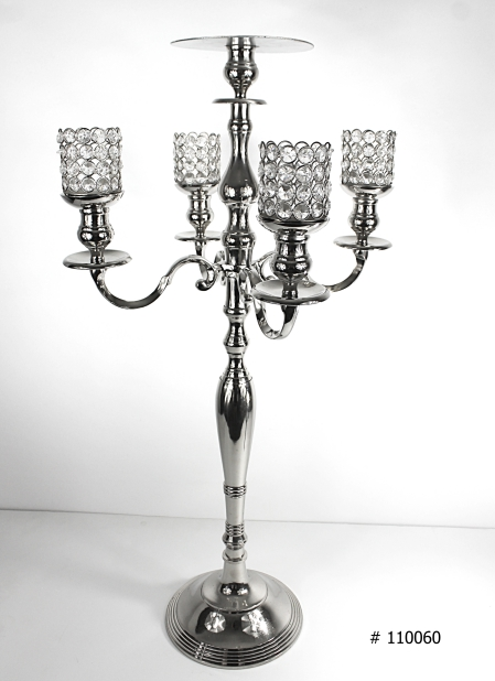 Silver Candelabras with 4 crystal votives and plate in the middle for florals # 110060