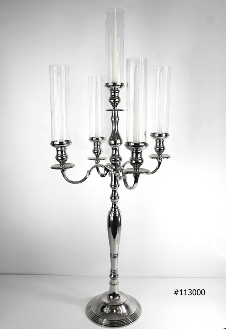 Silver Candelabras with tall hurricane covers 5 tall taper candles 45 inch tall # 113000