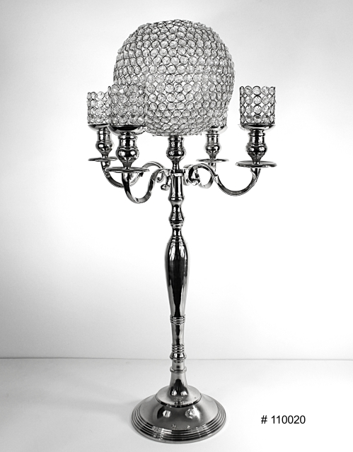 Silver Candlelabra with 10 inch crystal ball and 4 crystal votives 38 inch tall # 110020