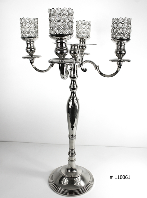 Silver candelabra 33 inch tall with 4 crystal votives and plate in middle for flowers # 110061