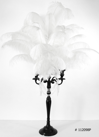 Black Candelabra with white ostrich feathers with pearls # 112098 # 11