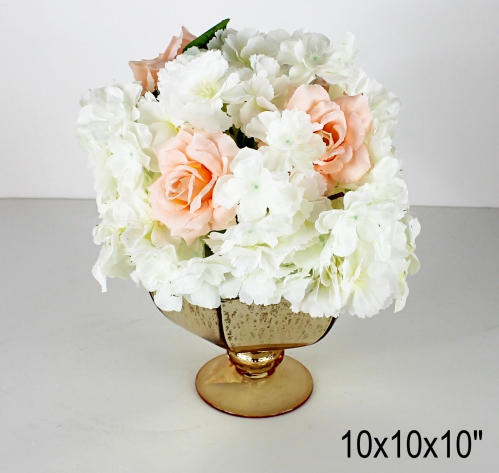 small faux floral arrangement 10x10x10 inches with gold vase