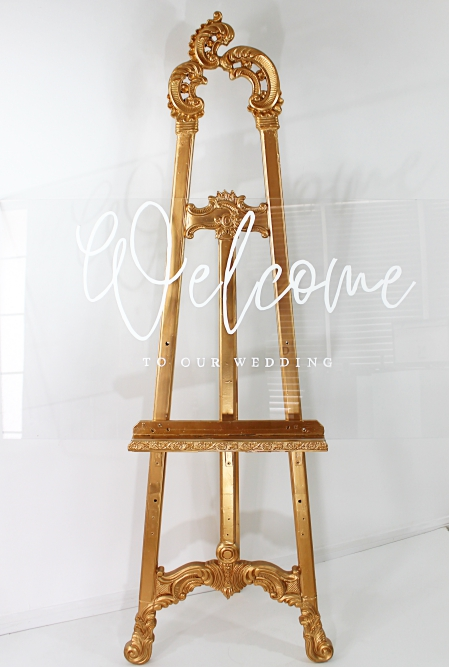 welcome sign and gold easel 2022