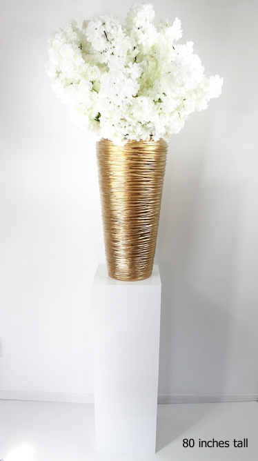 white cherry blossoms on a gold planter with tall white pedestal total height 80 inches