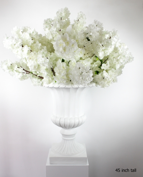 white cherry blossoms on a white planter 45 inches total height