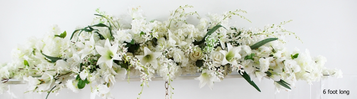 white floral arrangement for clear arch 6 foot long