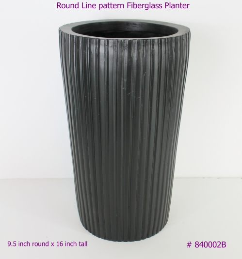 Fiberglass Planter Round Tall with lines running down # 840002W