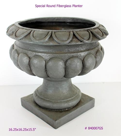 Special Round Fiberglass Planter Greystone 16.25x16.25x15.5 inch # 840007GS